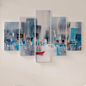 Quadro Decorativo Mosaico LUXO - Baía de Manhattan, Nova York Excelente qualidade  em vinil autocolante telado LUXO 1,25mt X 0,65cm Impressão Digital MDF - VINIL TELADO LUXO CONTÉM 5 PEÇAS TODAS EM MDF 6mm e impressão digital