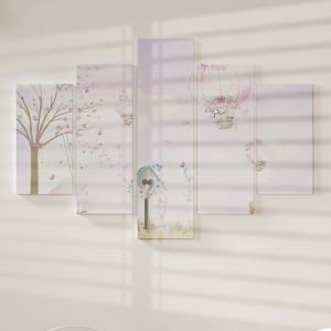 Quadro Decorativo Mosaico LUXO - Balões e os Animais Rosa Excelente qualidade  em vinil autocolante telado LUXO 1,25mt X 0,65cm Impressão Digital MDF - VINIL TELADO LUXO CONTÉM 5 PEÇAS TODAS EM MDF 6mm e impressão digital