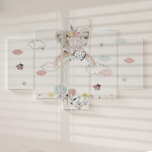 Quadro Decorativo Mosaico LUXO - bebê sentado no arco-íris e regando as flores Excelente qualidade  em vinil autocolante telado LUXO 1,25mt X 0,65cm Impressão Digital MDF - VINIL TELADO LUXO CONTÉM 5 PEÇAS TODAS EM MDF 6mm e impressão digital