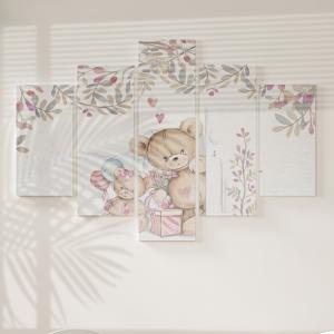 Quadro Decorativo Mosaico LUXO - Bonitos Teddy-Bears Excelente qualidade  em vinil autocolante telado LUXO 1,25mt X 0,65cm Impressão Digital MDF - VINIL TELADO LUXO CONTÉM 5 PEÇAS TODAS EM MDF 6mm e impressão digital