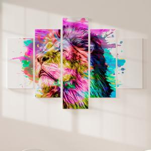 Quadro Decorativo Mosaico LUXO - cabeça de leão isolada na cor de fundo Excelente qualidade  em vinil autocolante telado LUXO 1,25mt X 0,65cm Impressão Digital MDF - VINIL TELADO LUXO CONTÉM 5 PEÇAS TODAS EM MDF 6mm e impressão digital