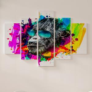 Quadro Decorativo Mosaico LUXO - cabeça de macaco isolada na cor de fundo Excelente qualidade  em vinil autocolante telado LUXO 1,25mt X 0,65cm Impressão Digital MDF - VINIL TELADO LUXO CONTÉM 5 PEÇAS TODAS EM MDF 6mm e impressão digital