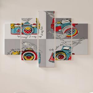 Quadro Decorativo Mosaico LUXO - Camera e os passaros Excelente qualidade  em vinil autocolante telado LUXO 1,25mt X 0,65cm Impressão Digital MDF - VINIL TELADO LUXO CONTÉM 5 PEÇAS TODAS EM MDF 6mm e impressão digital