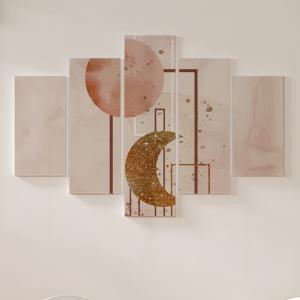 Quadro Decorativo Mosaico LUXO - Capas de aquarela desenhadas à mão Mod. 2 Excelente qualidade  em vinil autocolante telado LUXO 1,25mt X 0,65cm Impressão Digital MDF - VINIL TELADO LUXO CONTÉM 5 PEÇAS TODAS EM MDF 6mm e impressão digital
