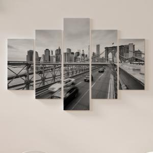 Quadro Decorativo Mosaico LUXO - carros cruzando a ponte do brooklyn em nova york Excelente qualidade  em vinil autocolante telado LUXO 1,25mt X 0,65cm Impressão Digital MDF - VINIL TELADO LUXO CONTÉM 5 PEÇAS TODAS EM MDF 6mm e impressão digital