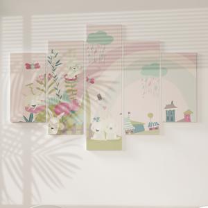 Quadro Decorativo Mosaico LUXO - Coelhinha fofa e as flores Excelente qualidade  em vinil autocolante telado LUXO 1,25mt X 0,65cm Impressão Digital MDF - VINIL TELADO LUXO CONTÉM 5 PEÇAS TODAS EM MDF 6mm e impressão digital