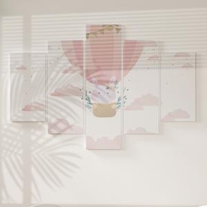 Quadro Decorativo Mosaico LUXO - Coelhinha no Balão Excelente qualidade  em vinil autocolante telado LUXO 1,25mt X 0,65cm Impressão Digital MDF - VINIL TELADO LUXO CONTÉM 5 PEÇAS TODAS EM MDF 6mm e impressão digital