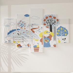 Quadro Decorativo Mosaico LUXO - colheita da maçã na fazendinha Excelente qualidade  em vinil autocolante telado LUXO 1,25mt X 0,65cm Impressão Digital MDF - VINIL TELADO LUXO CONTÉM 5 PEÇAS TODAS EM MDF 6mm e impressão digital