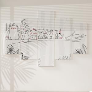 Quadro Decorativo Mosaico LUXO - desenhado de mão animal bonito Excelente qualidade  em vinil autocolante telado LUXO 1,25mt X 0,65cm Impressão Digital MDF - VINIL TELADO LUXO CONTÉM 5 PEÇAS TODAS EM MDF 6mm e impressão digital