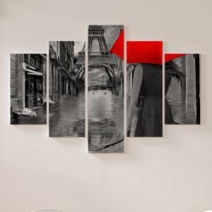 Quadro Decorativo Mosaico LUXO - dia chuvoso em Paris Excelente qualidade  em vinil autocolante telado LUXO 1,25mt X 0,65cm Impressão Digital MDF - VINIL TELADO LUXO CONTÉM 5 PEÇAS TODAS EM MDF 6mm e impressão digital