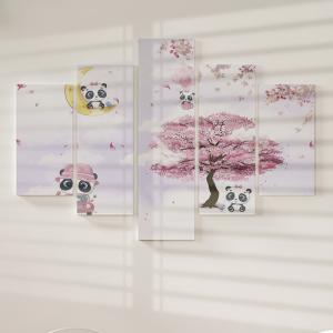 Quadro Decorativo Mosaico LUXO - doodle panda e a lua Excelente qualidade  em vinil autocolante telado LUXO 1,25mt X 0,65cm Impressão Digital MDF - VINIL TELADO LUXO CONTÉM 5 PEÇAS TODAS EM MDF 6mm e impressão digital