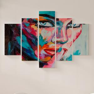 Quadro Decorativo Mosaico LUXO - emoções coloridas Excelente qualidade  em vinil autocolante telado LUXO 1,25mt X 0,65cm Impressão Digital MDF - VINIL TELADO LUXO CONTÉM 5 PEÇAS TODAS EM MDF 6mm e impressão digital