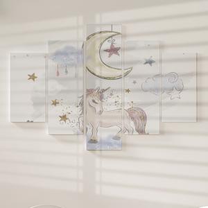 Quadro Decorativo Mosaico LUXO - Eu acredito em Unicórnio Excelente qualidade  em vinil autocolante telado LUXO 1,25mt X 0,65cm Impressão Digital MDF - VINIL TELADO LUXO CONTÉM 5 PEÇAS TODAS EM MDF 6mm e impressão digital