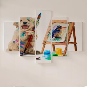Quadro Decorativo Mosaico LUXO - Filhote de cachorro o artista desenha o pássaro Excelente qualidade  em vinil autocolante telado LUXO 1,25mt X 0,65cm Impressão Digital MDF - VINIL TELADO LUXO CONTÉM 5 PEÇAS TODAS EM MDF 6mm e impressão digital