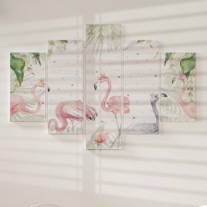 Quadro Decorativo Mosaico LUXO - FLAMINGO PARADISE Excelente qualidade  em vinil autocolante telado LUXO 1,25mt X 0,65cm Impressão Digital MDF - VINIL TELADO LUXO CONTÉM 5 PEÇAS TODAS EM MDF 6mm e impressão digital