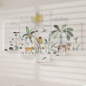 Quadro Decorativo Mosaico LUXO - Flora e fauna da floresta tropical Excelente qualidade  em vinil autocolante telado LUXO 1,25mt X 0,65cm Impressão Digital MDF - VINIL TELADO LUXO CONTÉM 5 PEÇAS TODAS EM MDF 6mm e impressão digital