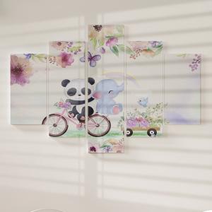 Quadro Decorativo Mosaico LUXO - Flores Pintadas e Borboletas e Animais Excelente qualidade  em vinil autocolante telado LUXO 1,25mt X 0,65cm Impressão Digital MDF - VINIL TELADO LUXO CONTÉM 5 PEÇAS TODAS EM MDF 6mm e impressão digital
