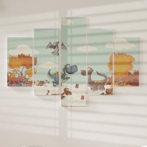 Quadro Decorativo Mosaico LUXO - Floresta com dinossauros Excelente qualidade  em vinil autocolante telado LUXO 1,25mt X 0,65cm Impressão Digital MDF - VINIL TELADO LUXO CONTÉM 5 PEÇAS TODAS EM MDF 6mm e impressão digital