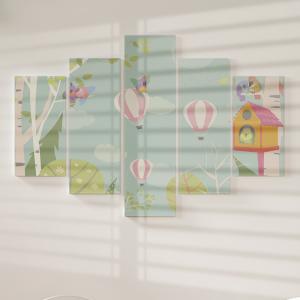 Quadro Decorativo Mosaico LUXO - floresta de primavera e pássaros Excelente qualidade  em vinil autocolante telado LUXO 1,25mt X 0,65cm Impressão Digital MDF - VINIL TELADO LUXO CONTÉM 5 PEÇAS TODAS EM MDF 6mm e impressão digital