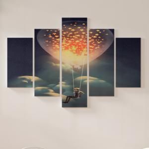 Quadro Decorativo Mosaico LUXO - flutuando no céu à noite Excelente qualidade  em vinil autocolante telado LUXO 1,25mt X 0,65cm Impressão Digital MDF - VINIL TELADO LUXO CONTÉM 5 PEÇAS TODAS EM MDF 6mm e impressão digital