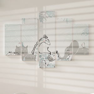 Quadro Decorativo Mosaico LUXO - fofo de bebê de animais africanos Excelente qualidade  em vinil autocolante telado LUXO 1,25mt X 0,65cm Impressão Digital MDF - VINIL TELADO LUXO CONTÉM 5 PEÇAS TODAS EM MDF 6mm e impressão digital