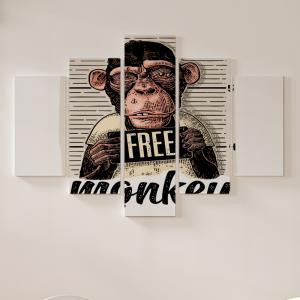 Quadro Decorativo Mosaico LUXO - Free Monkey Excelente qualidade  em vinil autocolante telado LUXO 1,25mt X 0,65cm Impressão Digital MDF - VINIL TELADO LUXO CONTÉM 5 PEÇAS TODAS EM MDF 6mm e impressão digital