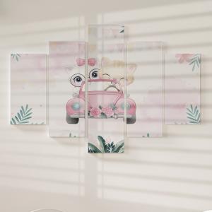Quadro Decorativo Mosaico LUXO - Gatinha Bonitinha Dirigindo Excelente qualidade  em vinil autocolante telado LUXO 1,25mt X 0,65cm Impressão Digital MDF - VINIL TELADO LUXO CONTÉM 5 PEÇAS TODAS EM MDF 6mm e impressão digital