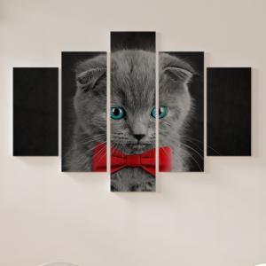 Quadro Decorativo Mosaico LUXO - gatinho bonito e adorável com olhos azuis Excelente qualidade  em vinil autocolante telado LUXO 1,25mt X 0,65cm Impressão Digital MDF - VINIL TELADO LUXO CONTÉM 5 PEÇAS TODAS EM MDF 6mm e impressão digital