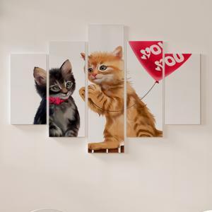 Quadro Decorativo Mosaico LUXO - Gatinho vermelho dando balão de coração Excelente qualidade  em vinil autocolante telado LUXO 1,25mt X 0,65cm Impressão Digital MDF - VINIL TELADO LUXO CONTÉM 5 PEÇAS TODAS EM MDF 6mm e impressão digital
