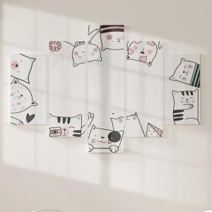 Quadro Decorativo Mosaico LUXO - Gato bonito dos desenhos animados Excelente qualidade  em vinil autocolante telado LUXO 1,25mt X 0,65cm Impressão Digital MDF - VINIL TELADO LUXO CONTÉM 5 PEÇAS TODAS EM MDF 6mm e impressão digital