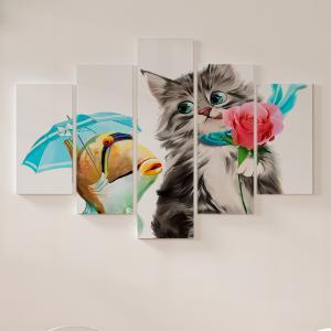 Quadro Decorativo Mosaico LUXO - gato e peixe Excelente qualidade  em vinil autocolante telado LUXO 1,25mt X 0,65cm Impressão Digital MDF - VINIL TELADO LUXO CONTÉM 5 PEÇAS TODAS EM MDF 6mm e impressão digital