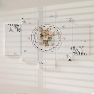 Quadro Decorativo Mosaico LUXO - Girafa florida Excelente qualidade  em vinil autocolante telado LUXO 1,25mt X 0,65cm Impressão Digital MDF - VINIL TELADO LUXO CONTÉM 5 PEÇAS TODAS EM MDF 6mm e impressão digital
