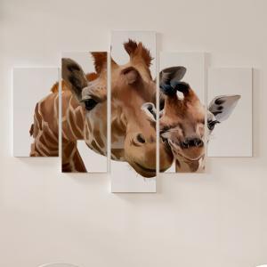 Quadro Decorativo Mosaico LUXO - Girafas, mãe e filhote Excelente qualidade  em vinil autocolante telado LUXO 1,25mt X 0,65cm Impressão Digital MDF - VINIL TELADO LUXO CONTÉM 5 PEÇAS TODAS EM MDF 6mm e impressão digital