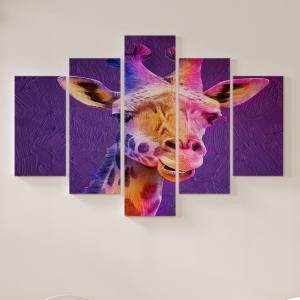 Quadro Decorativo Mosaico LUXO - Giraffa Excelente qualidade  em vinil autocolante telado LUXO 1,25mt X 0,65cm Impressão Digital MDF - VINIL TELADO LUXO CONTÉM 5 PEÇAS TODAS EM MDF 6mm e impressão digital