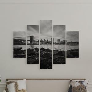 Quadro Decorativo Mosaico LUXO - horizonte de manhattan com a ponte de brooklyn Excelente qualidade  em vinil autocolante telado LUXO 1,25mt X 0,65cm Impressão Digital MDF - VINIL TELADO LUXO CONTÉM 5 PEÇAS TODAS EM MDF 6mm e impressão digital