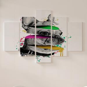 Quadro Decorativo Mosaico LUXO - Ilustração de buldogue francês Excelente qualidade  em vinil autocolante telado LUXO 1,25mt X 0,65cm Impressão Digital MDF - VINIL TELADO LUXO CONTÉM 5 PEÇAS TODAS EM MDF 6mm e impressão digital