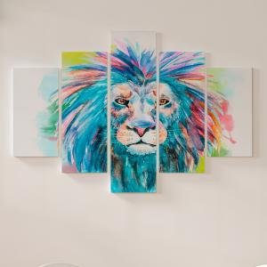 Quadro Decorativo Mosaico LUXO - impressão em aquarela de cabeça de leão Excelente qualidade  em vinil autocolante telado LUXO 1,25mt X 0,65cm Impressão Digital MDF - VINIL TELADO LUXO CONTÉM 5 PEÇAS TODAS EM MDF 6mm e impressão digital