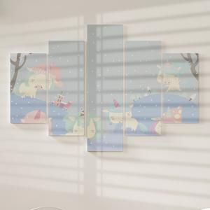 Quadro Decorativo Mosaico LUXO - Inverno mágico Excelente qualidade  em vinil autocolante telado LUXO 1,25mt X 0,65cm Impressão Digital MDF - VINIL TELADO LUXO CONTÉM 5 PEÇAS TODAS EM MDF 6mm e impressão digital