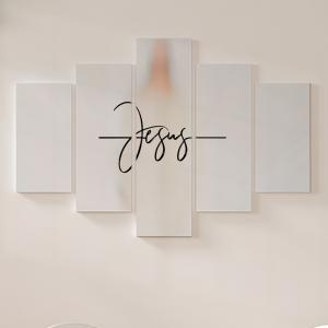 Quadro Decorativo Mosaico LUXO - Jesus Excelente qualidade  em vinil autocolante telado LUXO 1,25mt X 0,65cm Impressão Digital MDF - VINIL TELADO LUXO CONTÉM 5 PEÇAS TODAS EM MDF 6mm e impressão digital