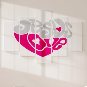 Quadro Decorativo Mosaico LUXO - Jesus Love Excelente qualidade  em vinil autocolante telado LUXO 1,25mt X 0,65cm Impressão Digital MDF - VINIL TELADO LUXO CONTÉM 5 PEÇAS TODAS EM MDF 6mm e impressão digital