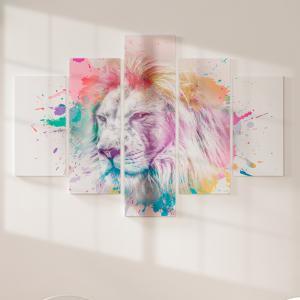 Quadro Decorativo Mosaico LUXO - Jesus Rei dos Reis Excelente qualidade  em vinil autocolante telado LUXO 1,25mt X 0,65cm Impressão Digital MDF - VINIL TELADO LUXO CONTÉM 5 PEÇAS TODAS EM MDF 6mm e impressão digital