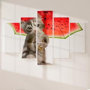 Quadro Decorativo Mosaico LUXO - Kitty segurando guarda-chuva de melancia Excelente qualidade  em vinil autocolante telado LUXO 1,25mt X 0,65cm Impressão Digital MDF - VINIL TELADO LUXO CONTÉM 5 PEÇAS TODAS EM MDF 6mm e impressão digital
