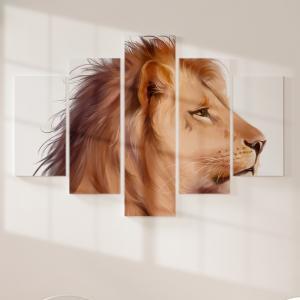 Quadro Decorativo Mosaico LUXO - Leão Aquarela Excelente qualidade  em vinil autocolante telado LUXO 1,25mt X 0,65cm Impressão Digital MDF - VINIL TELADO LUXO CONTÉM 5 PEÇAS TODAS EM MDF 6mm e impressão digital