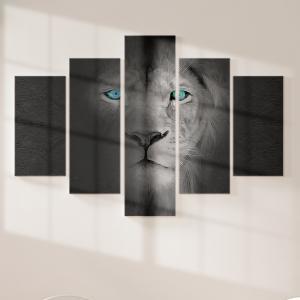 Quadro Decorativo Mosaico LUXO - Leão CInzento Excelente qualidade  em vinil autocolante telado LUXO 1,25mt X 0,65cm Impressão Digital MDF - VINIL TELADO LUXO CONTÉM 5 PEÇAS TODAS EM MDF 6mm e impressão digital