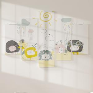 Quadro Decorativo Mosaico LUXO - Leões bonitos com flores e nuvens Excelente qualidade  em vinil autocolante telado LUXO 1,25mt X 0,65cm Impressão Digital MDF - VINIL TELADO LUXO CONTÉM 5 PEÇAS TODAS EM MDF 6mm e impressão digital