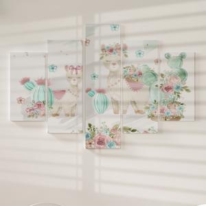 Quadro Decorativo Mosaico LUXO - Lhamas Florais Excelente qualidade  em vinil autocolante telado LUXO 1,25mt X 0,65cm Impressão Digital MDF - VINIL TELADO LUXO CONTÉM 5 PEÇAS TODAS EM MDF 6mm e impressão digital