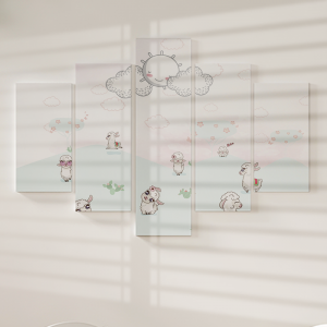 Quadro Decorativo Mosaico LUXO - Lhamas Fofas Excelente qualidade  em vinil autocolante telado LUXO 1,25mt X 0,65cm Impressão Digital MDF - VINIL TELADO LUXO CONTÉM 5 PEÇAS TODAS EM MDF 6mm e impressão digital