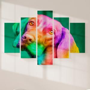 Quadro Decorativo Mosaico LUXO - lindo cão Vizsla colorido Excelente qualidade  em vinil autocolante telado LUXO 1,25mt X 0,65cm Impressão Digital MDF - VINIL TELADO LUXO CONTÉM 5 PEÇAS TODAS EM MDF 6mm e impressão digital