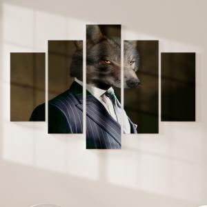 Quadro Decorativo Mosaico LUXO - Lobo de negócios vestido para matar Excelente qualidade  em vinil autocolante telado LUXO 1,25mt X 0,65cm Impressão Digital MDF - VINIL TELADO LUXO CONTÉM 5 PEÇAS TODAS EM MDF 6mm e impressão digital
