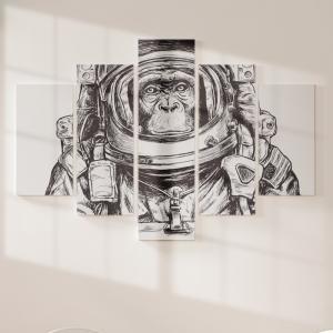 Quadro Decorativo Mosaico LUXO - macaco austronauta Excelente qualidade  em vinil autocolante telado LUXO 1,25mt X 0,65cm Impressão Digital MDF - VINIL TELADO LUXO CONTÉM 5 PEÇAS TODAS EM MDF 6mm e impressão digital
